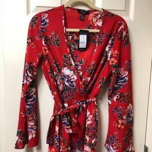 NWT ASOS Red floral romper, 4, tie waist